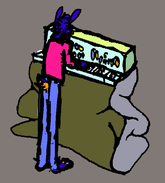 Skippy Playing A Synthesizer