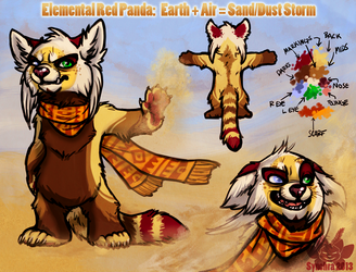 Elemental Red Panda Character Auction - Sand/Dust Storm