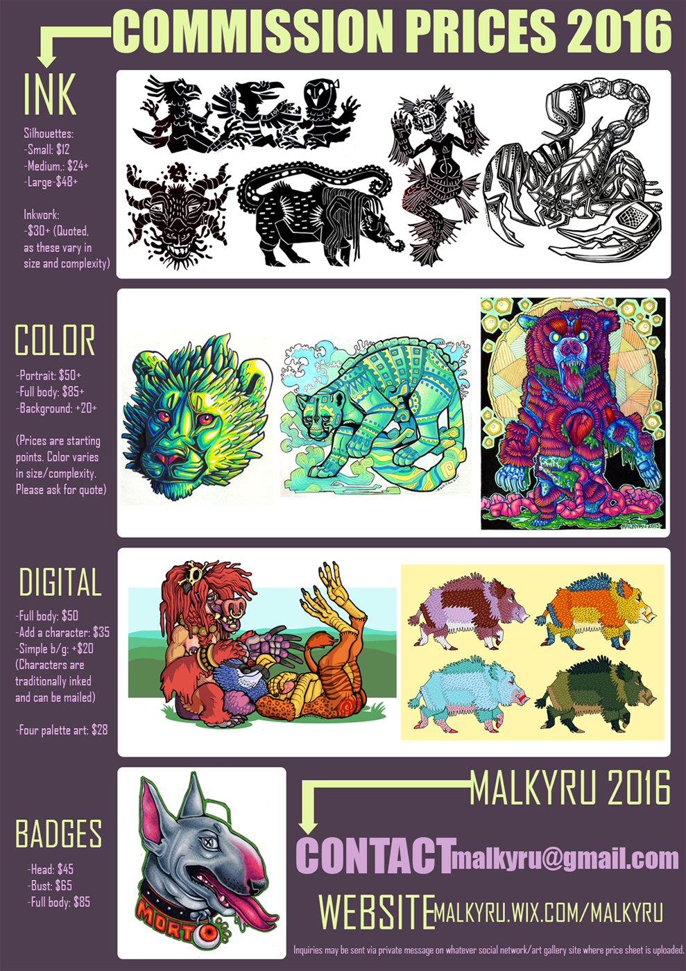 Most recent image: Commission Prices 2016