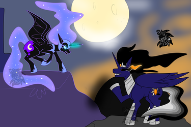 Nightmare Moon vs Event Horizon +Flatcolored Commission+