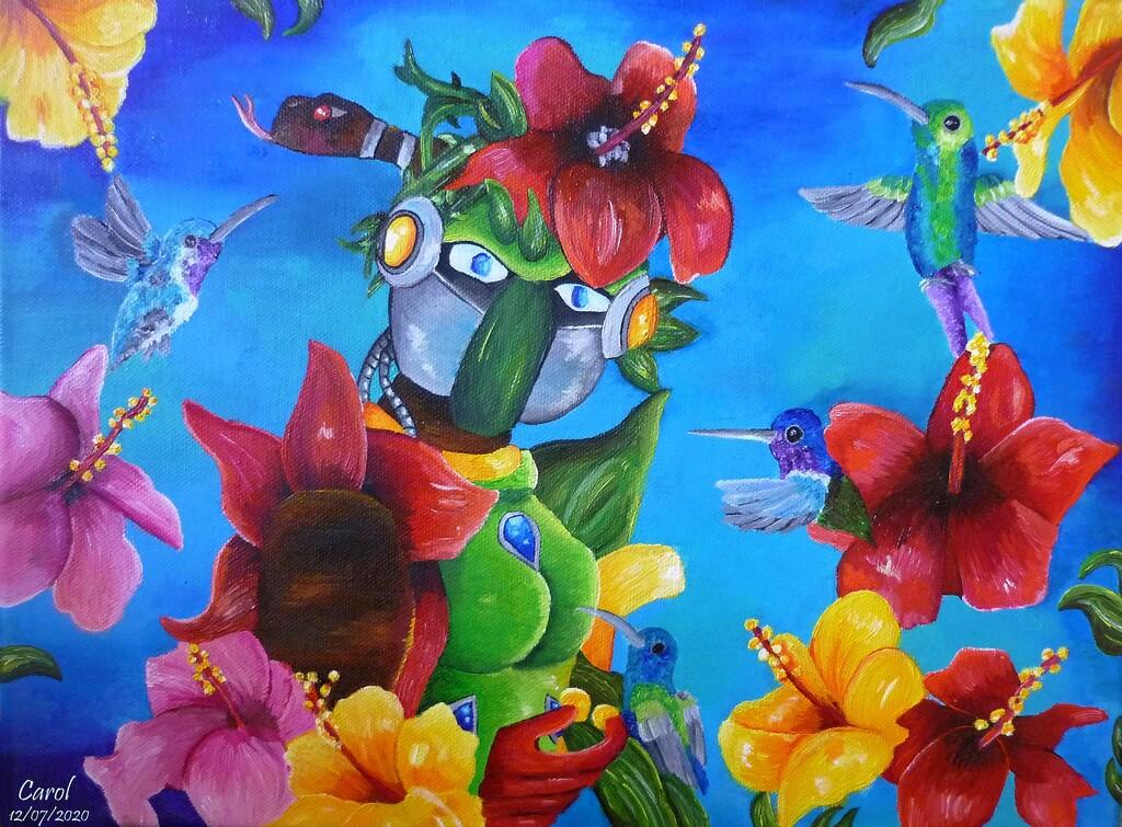 Hibiscus et colibris