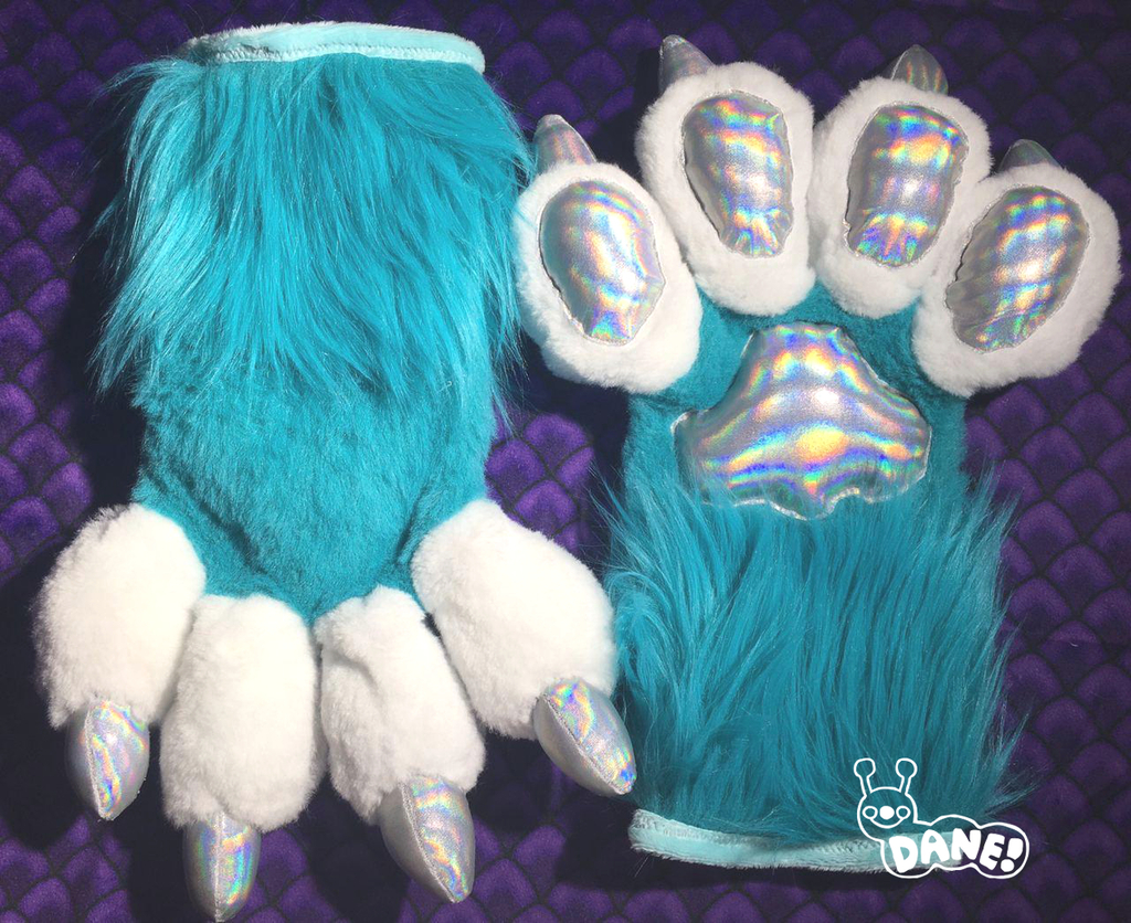(FOR SALE) Blue Holographic Handpaws