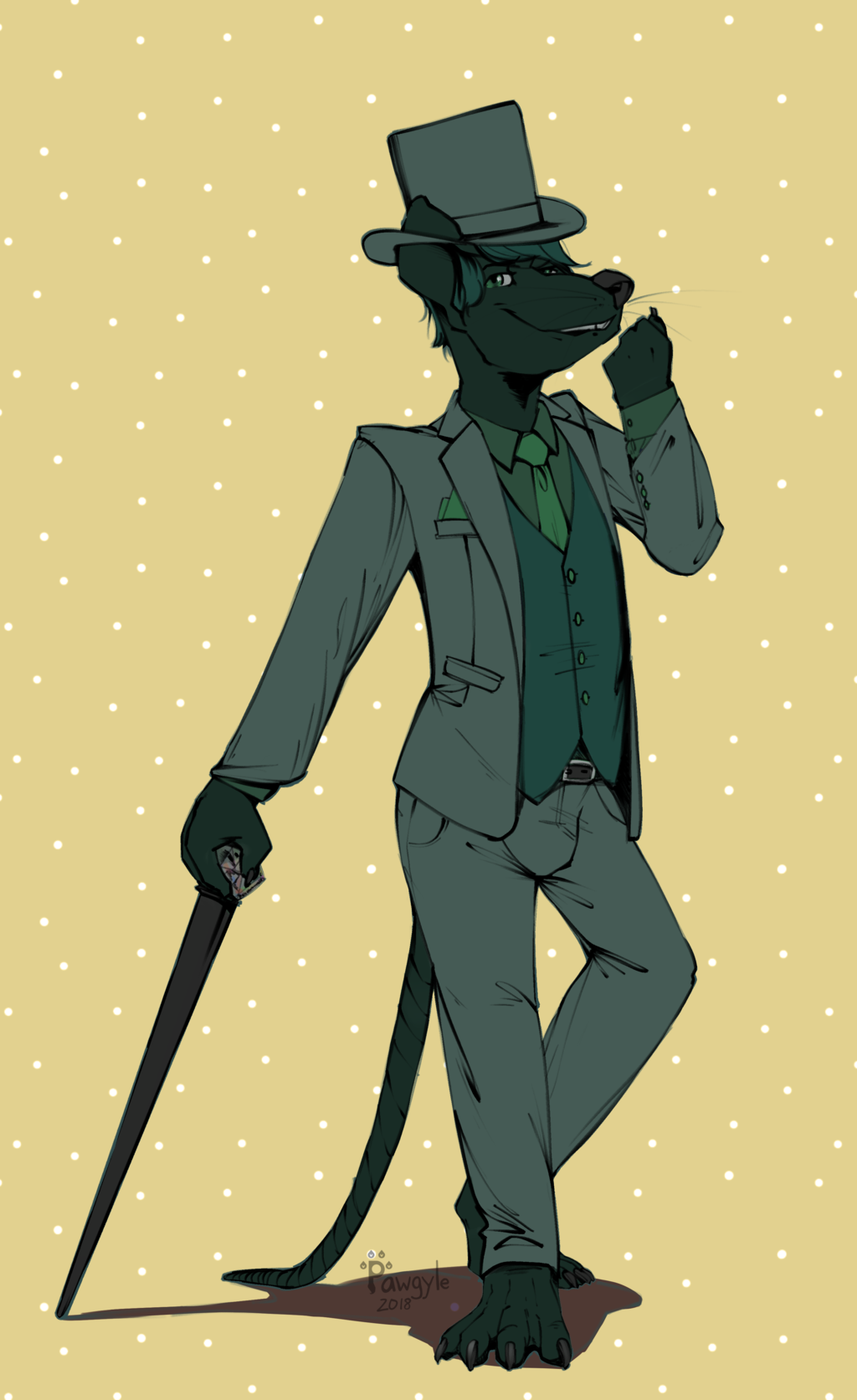 Farz in a three piece suit with cane