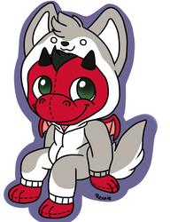 Plushie Dragon in a Wolf Kigu