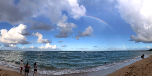 Beach rainbow panorama