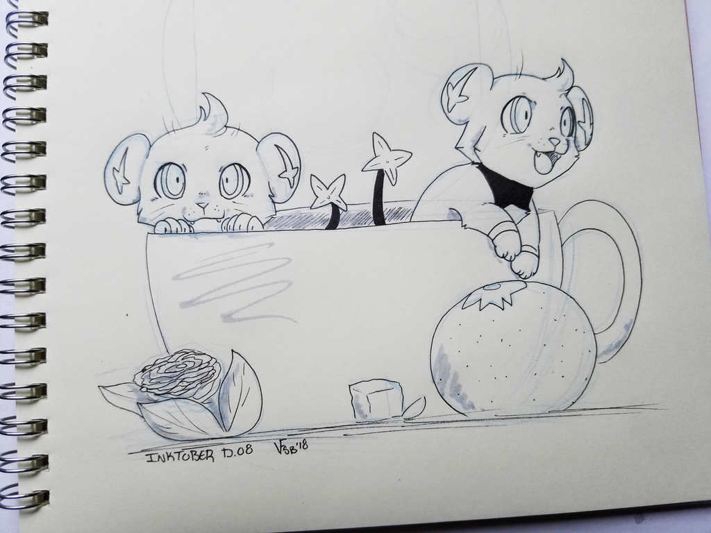 InkTober D. 08 - Tea Cup Shinx