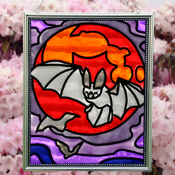 Bloodmoon Bat Faux Stained Glass (Outdoor)