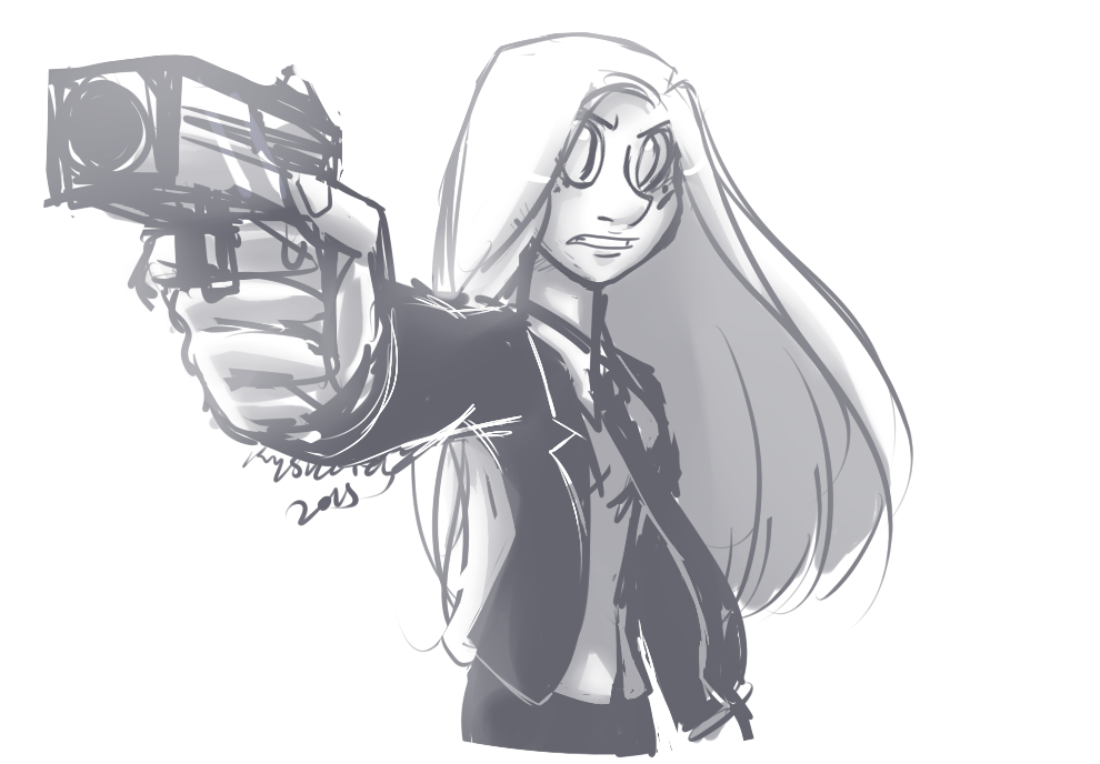 Eleanor Medley with Gun Sketch