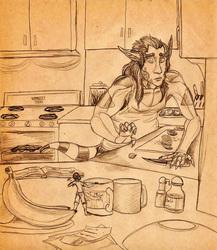 Sepiatone Sketch--Surprise Kitchen Guest