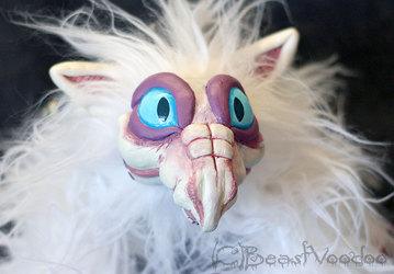 Snow the albino hatchling dragon doll - closeup