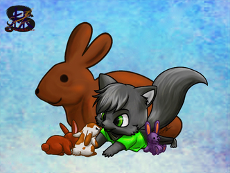 Choco bunny, cute bunny, fluffy bunny, stuffie bunny - Easter Egg Chibi Auction - Gspark