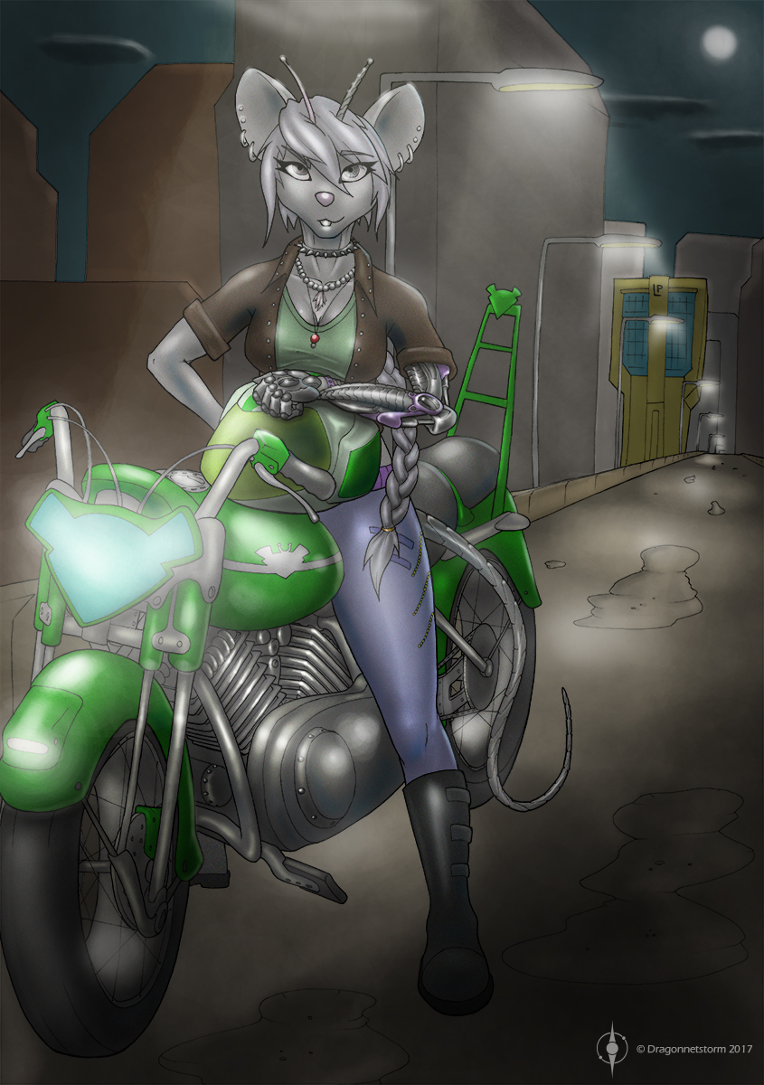 [comm] Silver on her Motorcycle