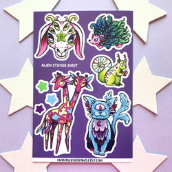 Alien Creatures Sticker Sheet