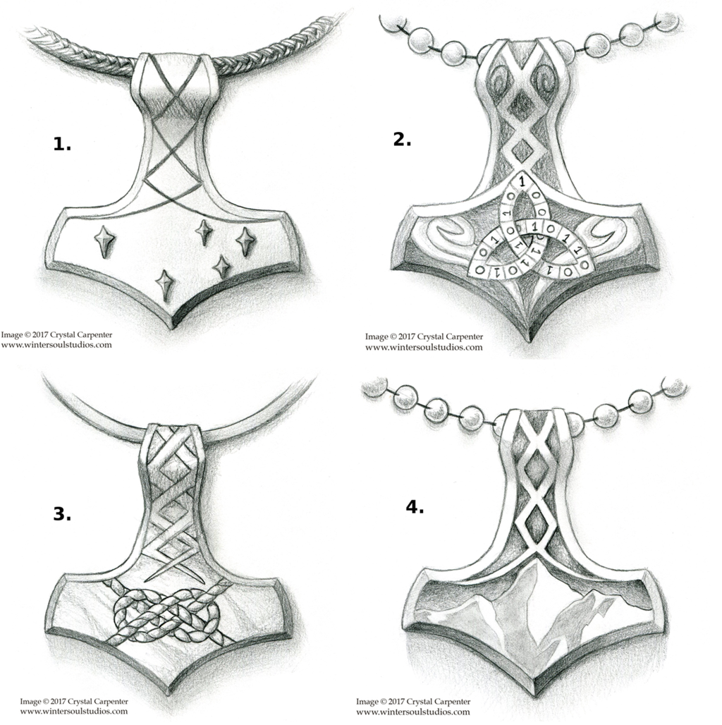 Four Mjolnir sketches. Art by Wintersoul
