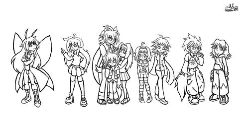 Character Drawcember Week 3 - Group Shot Sketch