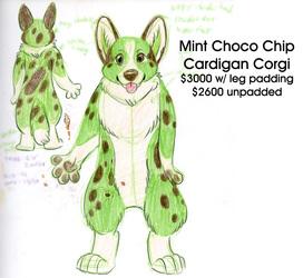 Mint Choco Chip Corgi Fursuit FOR ADOPTION