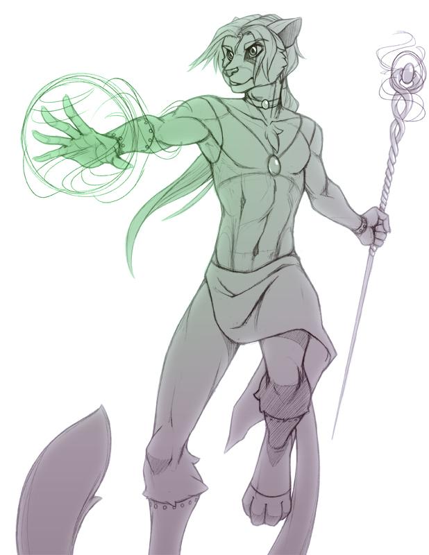 Kizaunta the Mage  by Brindle  (sketch)