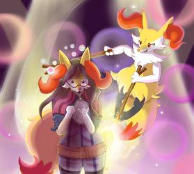 Braixen and Nia as Pokken's Pop Star Siblings!