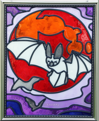 Bloodmoon Bat Faux Stained Glass (Indoor)