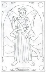 Tarot Card: Temperance for Leinir - clean pencils
