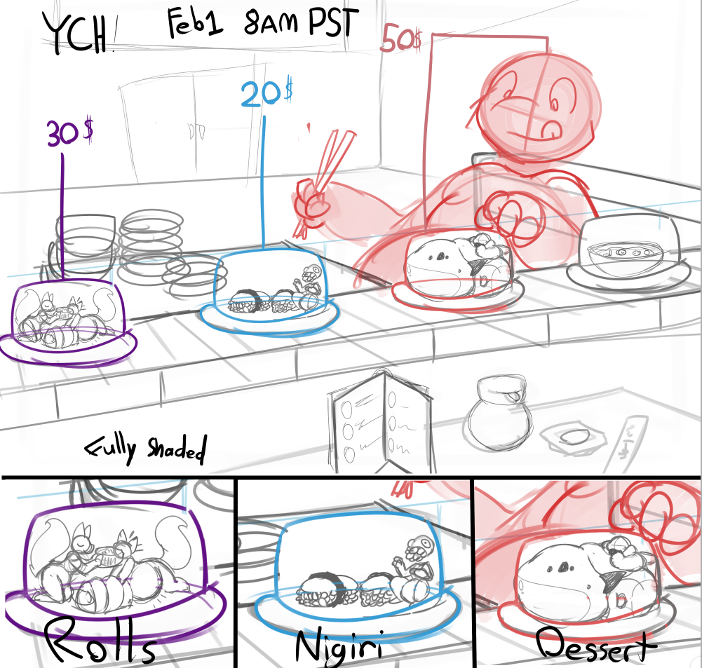 Most recent image: --YCH Auction--- Sushi trains