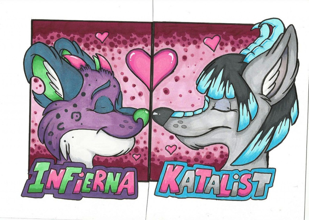Couples Badges: Infierna and Katalist by Lord Fenrir