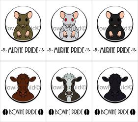 Colored Species Pride Badges: Bovine & Murine