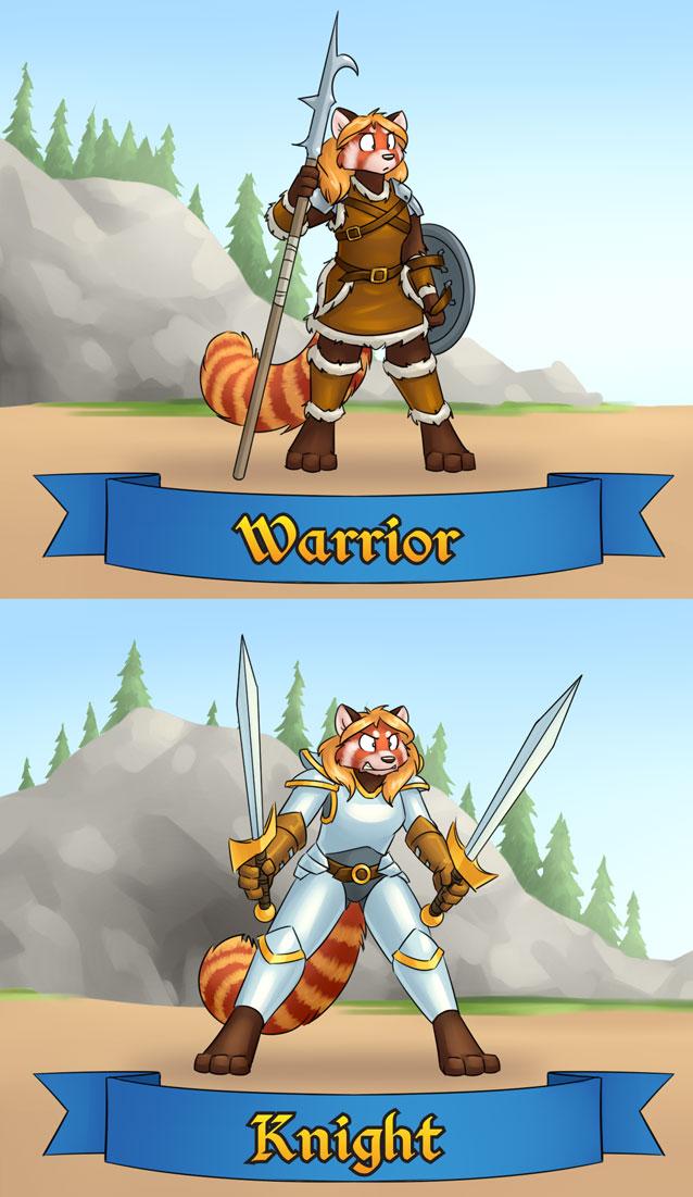 RainFurrest class badges - warrior / knight
