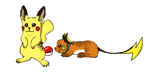 Realistic pikachu and raichu