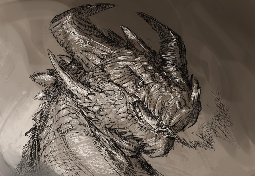 Stone dragon sketch