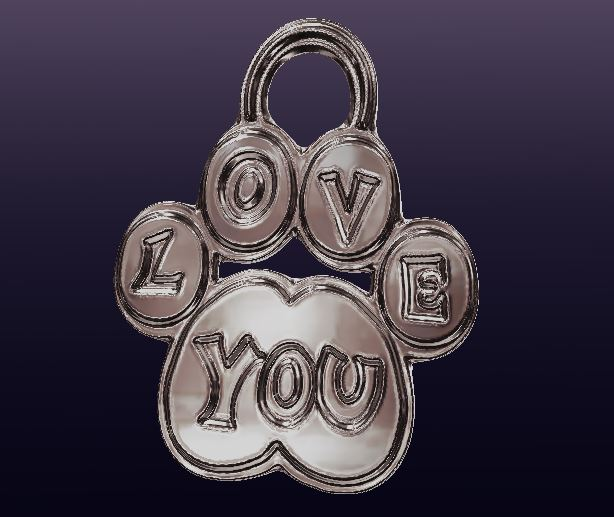 Love You Paw 3D Pendant
