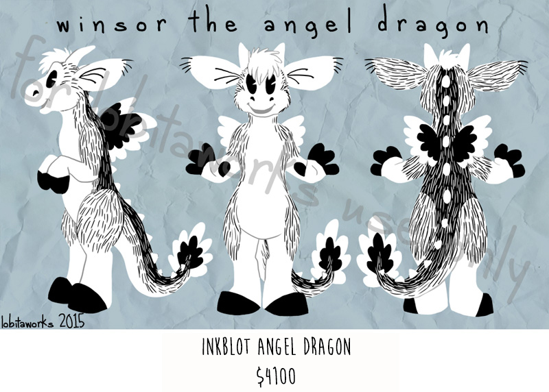 Inkblot Angel Dragon Fursuit Adoptable