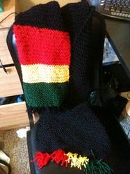 Hand knit Rasta Scarf