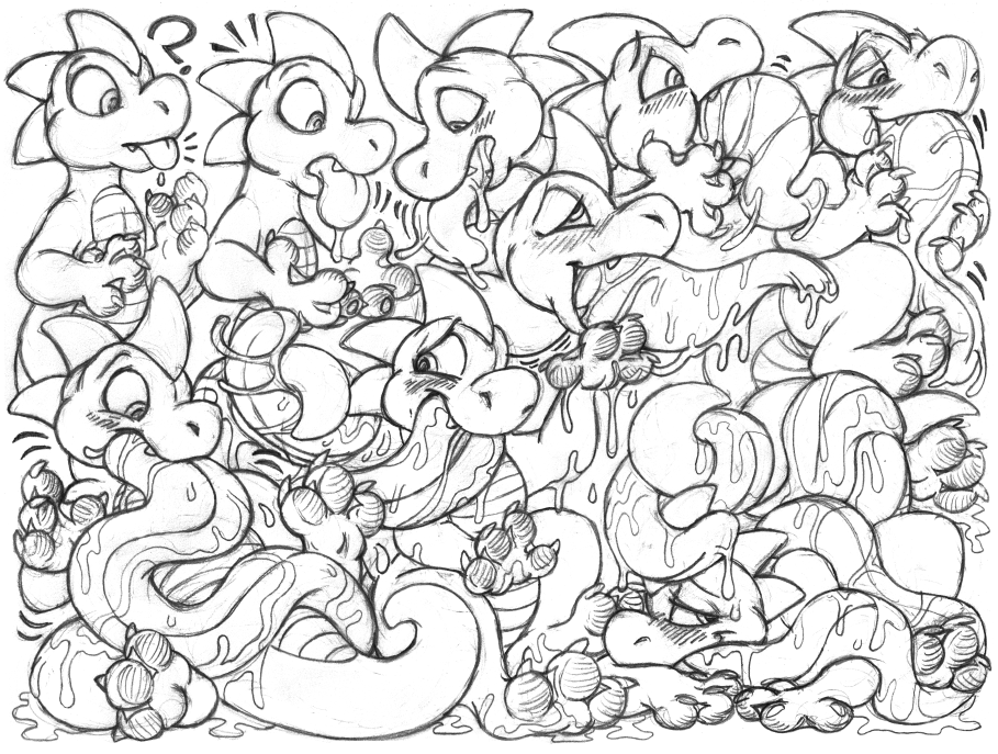 Most recent image: frackattack sketchpage commission (tongue growth)