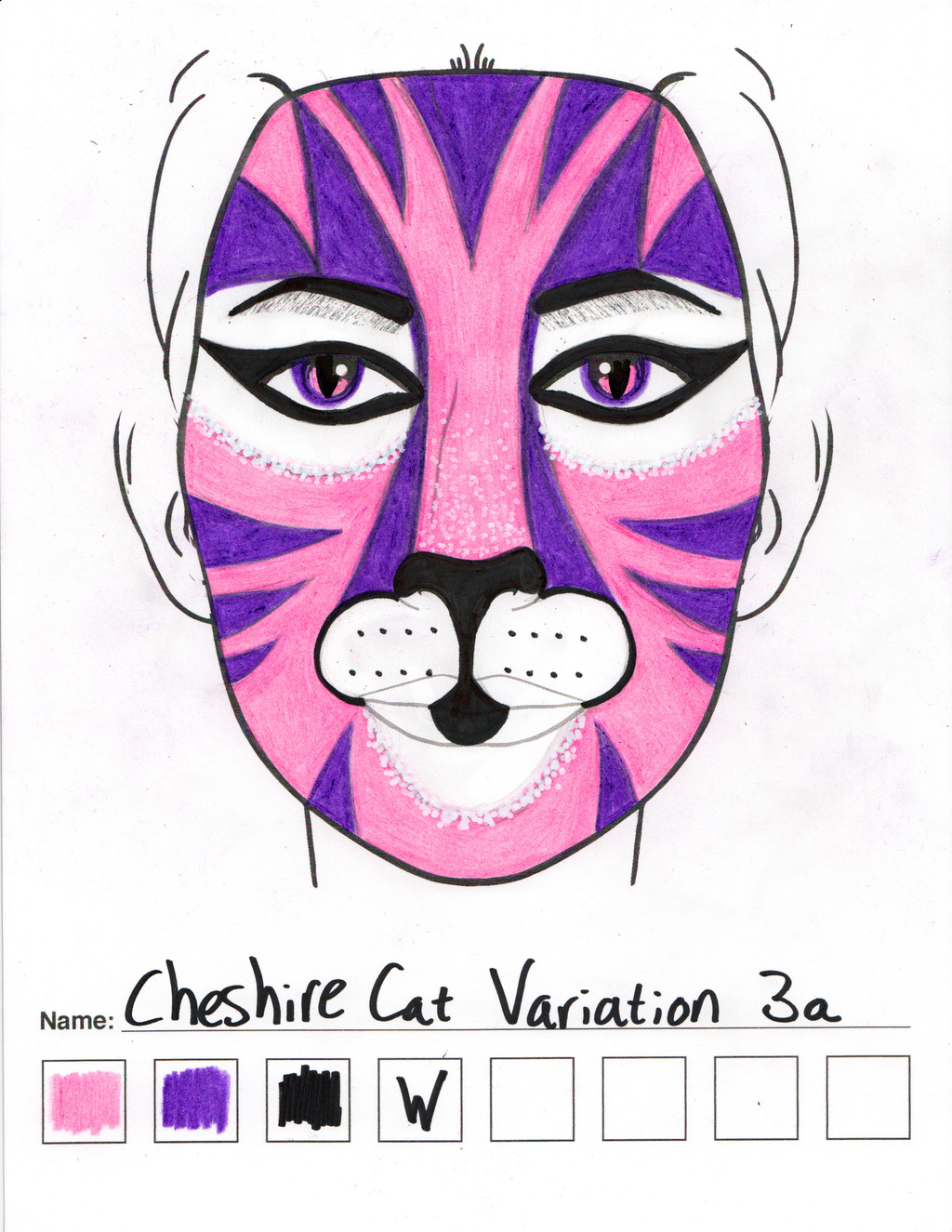 Cheshire Cat Variation 3a makeup sketch