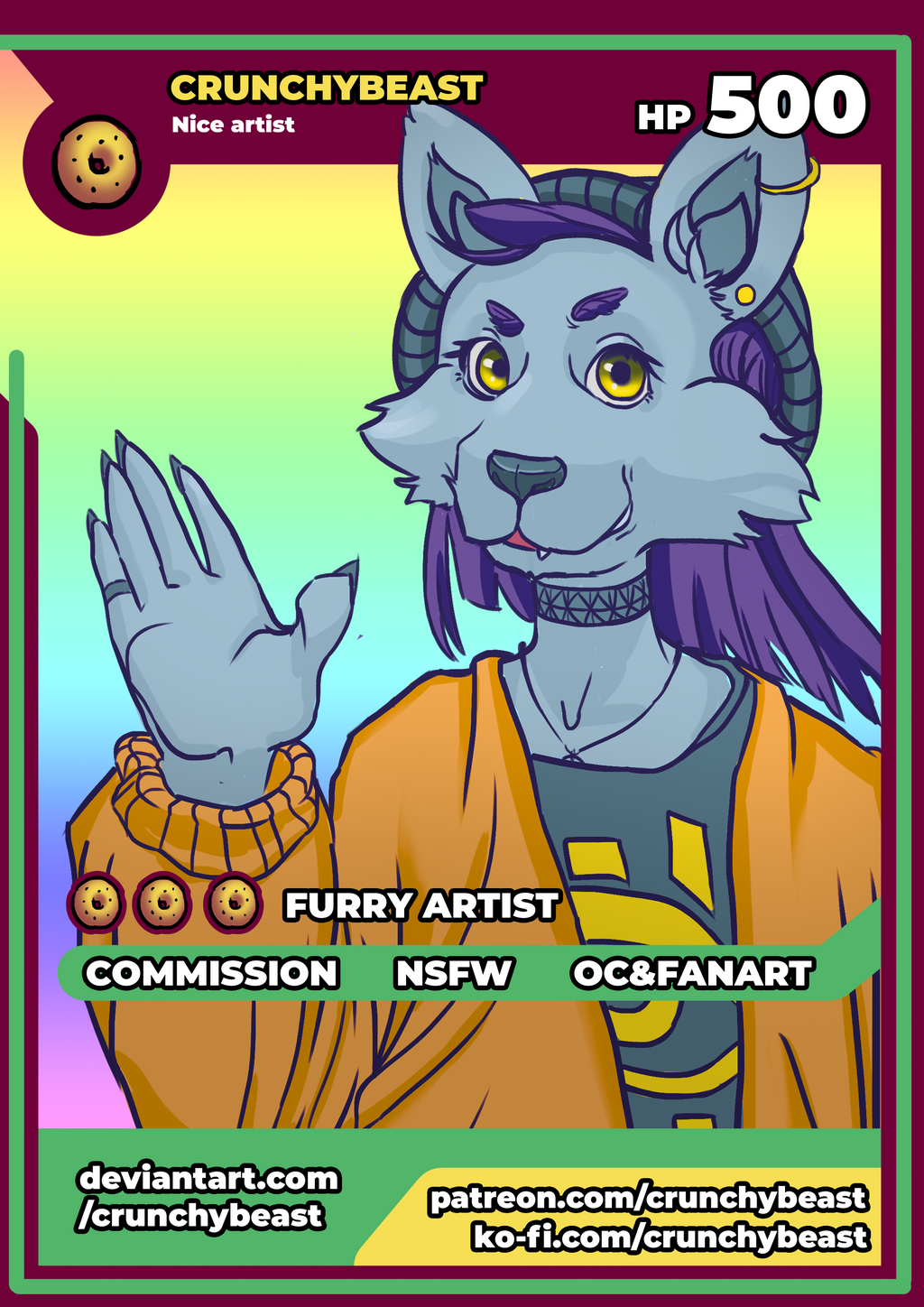 Most recent image: Crunchy Beast - poke card (YCH) :)