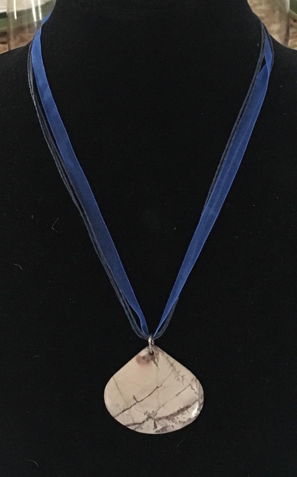 Stone Ribbon Cord Necklace