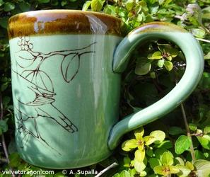 Cedar Waxwing Mug, Bird Butt and Handle Detail