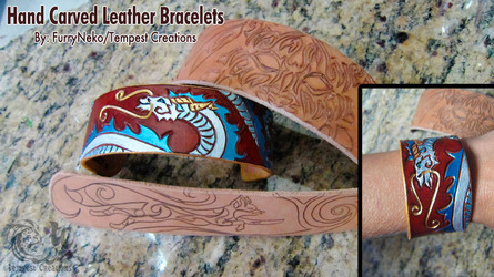Hand Carved Leather Bracelets