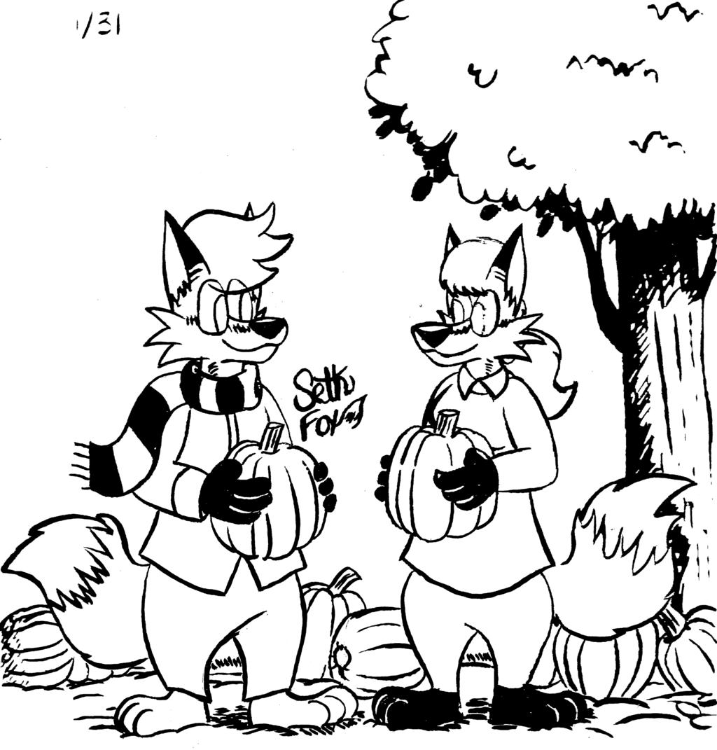 Inktober '18: Pumpkin Foxes (01/31)