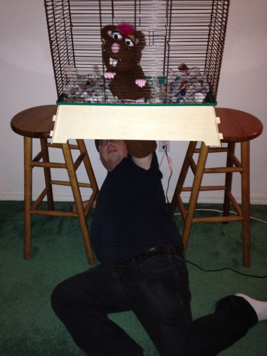 Rat Puppet BONUS PIC - Puppetry Ain't Easy