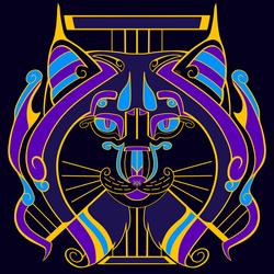 Galaxy Cats - Lyra Lynx (Cool Purple Flat Colour)