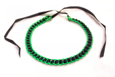Glow in the Dark Green and Black Ribbon Maille