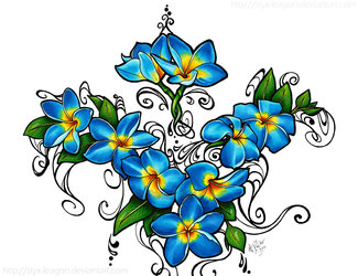 Blue Fire Plumeria Tattoo