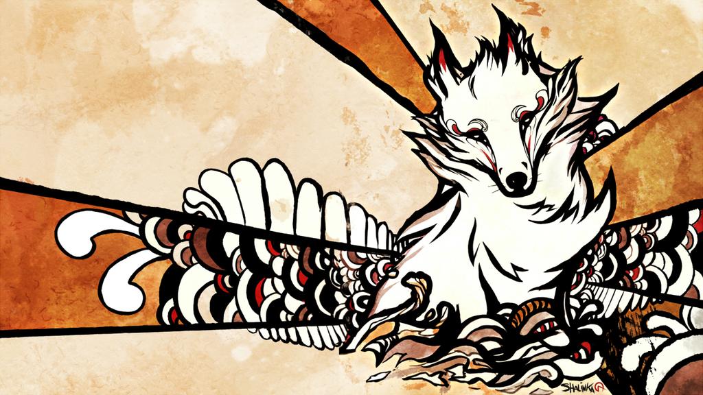 Sumi-e style, the fox.