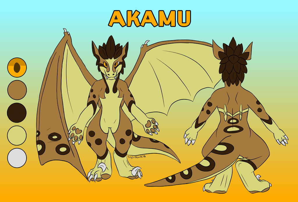 Most recent image: Akamu the Chaos Raptor ref sheet [commission]