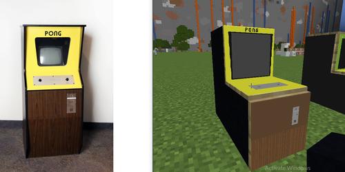 Pong arcade cabinet in Minecraft