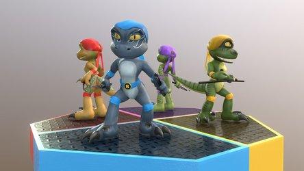 Teenage Jurassic Squad Raptors (sketchfab)