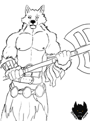Inktober 2018 #13 Wolf Barbarian