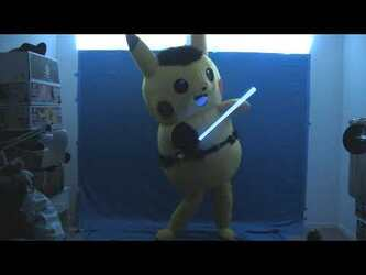 "Mascot Fursuiting Video: Ace Spade the Pikachu's ""Lightsaber Skills"""